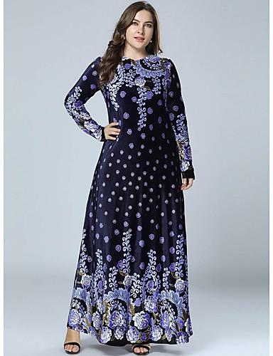 voordelige Maxi-jurken-Dames Street chic Elegant Recht Abaya Jurk - Geometrisch, Print Maxi