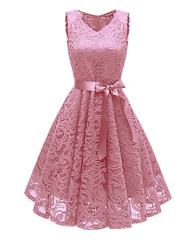 preiswerte Die pinke Kollektion-Damen Ausgehen Retro 50er A-Linie Kleid - Spitze, Solide Midi V-Ausschnitt Staubige Rose