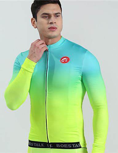povoljno Odjeća za vožnju biciklom-BOESTALK Muškarci Dugih rukava Biciklistička majica Zelen Postupno Bicikl Biciklistička majica Majice Brdski biciklizam biciklom na cesti Ugrijati Prozračnost Sportski Zima Runo Wool Fabric Odjeća