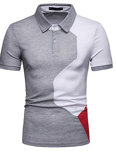 levne Pánská polo trika-Pánské - Barevné bloky Polo Košilový límec Štíhlý Bílá