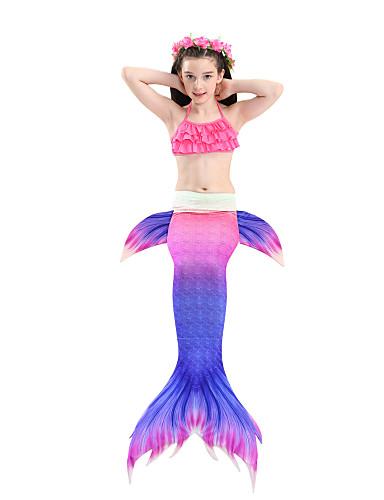 בגדי ים גיאומטרי זנב של בתולת ים בסיסי בנות ילדים