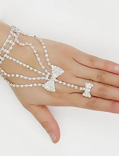 preiswerte Armband Ring-Damen Wickelarmbänder Ring-Armbänder Strass Armband Schmuck Weiß Für Party Alltag / versilbert