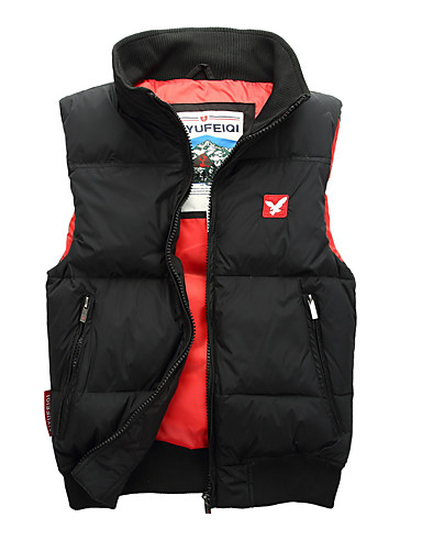 cheap Down Vest-Men's Daily Basic Solid Colored Regular Vest, Polyester Sleeveless Turtleneck Red / Gray / Royal Blue L / XL / XXL