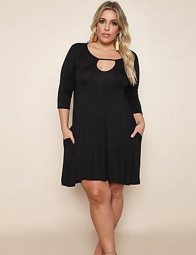 levne Šaty velkých velikostí-Dámské Elegantní Pouzdro Šaty - Jednobarevné Nad kolena