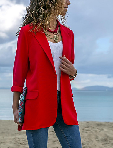 cheap Women's Outerwear-Women's Blazer, Solid Colored Notch Lapel Polyester Blue / Black / Red