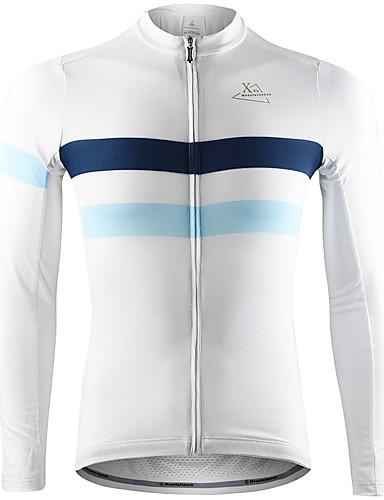 povoljno Biciklističke majice-Mountainpeak Muškarci Dugih rukava Biciklistička majica Crn Obala Sky blue Bicikl Biciklistička majica Majice Ugrijati Ovlaživanje Quick dry Sportski Zima Spandex Odjeća / Rastezljivo