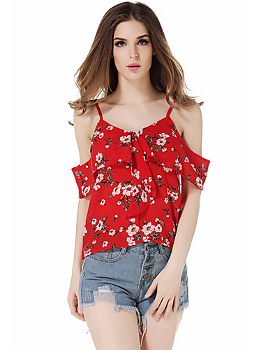 34c7883525fd Mulheres Tamanhos Grandes Blusa Floral Com Alças Vermelho M de 7203642 2019  por $17.81