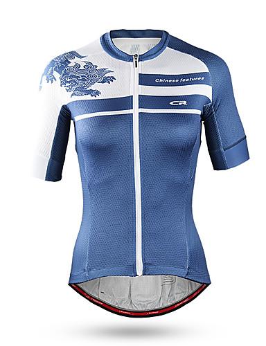 povoljno Biciklističke majice-Mountainpeak Žene Kratkih rukava Biciklistička majica Blue / Bijela Životinja Zmaj Bicikl Majice Prozračnost Quick dry Sportski Spandex Odjeća / Mikroelastično / SBS zippers