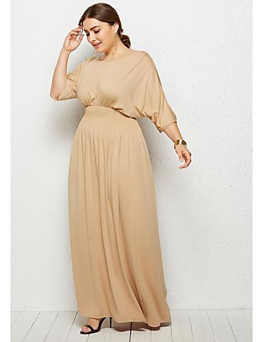 levne Maxi šaty-Dámské Základní Pouzdro Šaty - Jednobarevné Maxi