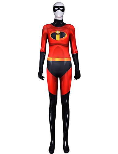 billige Zentai-Zentai Drakter Drakter Superman Ninja Voksne Lycra® Cosplay-kostymer Halloween Dame Rød Fargeblokk Halloween Karneval Maskerade