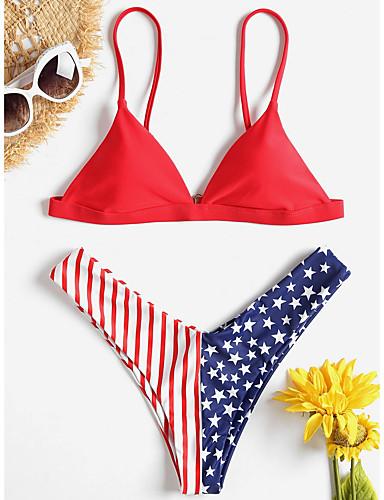 preiswerte Spaß am Strand-Damen Rote Marineblau Bikinis Bademode - Solide S M L Rote
