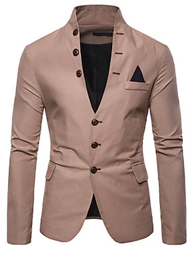 voordelige Herenblazers & kostuums-Heren Blazer, Effen V-hals Polyester Rood / Marineblauw / Khaki