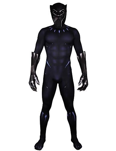billige Zentai-Zentai Drakter Cosplay Voksne Lycra® Cosplay-kostymer Halloween Herre Svart Printer Halloween Karneval Maskerade
