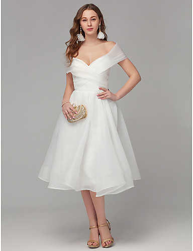 cheap Homecoming Dresses-Back To School A-Line Elegant White Engagement Cocktail Party Dress Off Shoulder Sleeveless Tea Length Organza with Criss Cross Pleats 2020 Hoco Dress