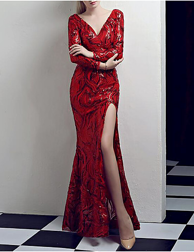 2e2ac82c604 Mermaid   Trumpet V Neck Floor Length Sequined Vintage Inspired Formal  Evening Dress with Sequin   Crystals   Embroidery by LAN TING Express  7175339 2019 – ...