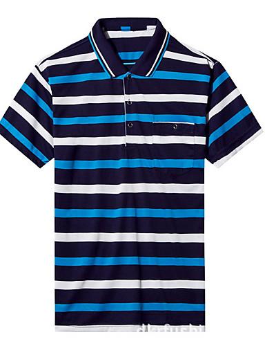 levne Pánská polo trika-Pánské - Proužky Polo Košilový límec Trávová zelená