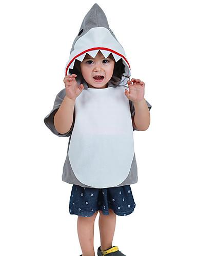 povoljno Maske i kostimi-Shark Cosplay Nošnje Dječji Dječaci Outfits Halloween Halloween Maškare Festival / Praznik Polyster Bež Karneval kostime Kolaž