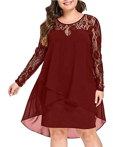 levne Šaty velkých velikostí-Dámské Základní Shift Šaty - Jednobarevné, Síťka Patchwork Délka ke kolenům