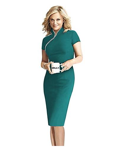 levne Pracovní šaty-Dámské Bodycon Šaty - Jednobarevné, Patchwork Délka ke kolenům