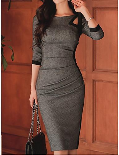 Жен. Элегантный стиль Оболочка Платье - Однотонный До колена