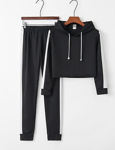 billige Dametopper-Dame Sporty Sett Bukse Stripet Med hette