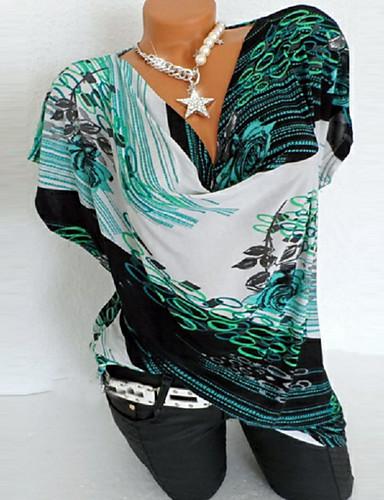 billige Dametopper-Bomull Store størrelser T-skjorte Dame - Geometrisk, Trykt mønster Grønn