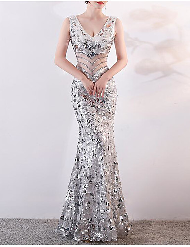 c0f68cd5339 Mermaid   Trumpet V Neck Floor Length Tulle   Sequined Sparkle   Shine Formal  Evening Dress with Sequin   Crystals   Embroidery by LAN TING Express  7175415 ...