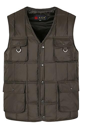 voordelige Heren donsjassen & parka's-Heren Dagelijks Standaard Effen Normaal Vest, Polyester Mouwloos Winter V-hals blauw / Grijs XXL / XXXL / XXXXL