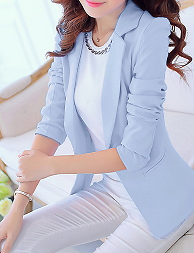 billige Ytterklær til damer-Dame Blazer, Ensfarget Hakkjakkeslag Polyester Rosa / Lyseblå / Marineblå / Tynn