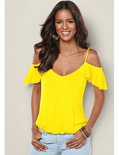 preiswerte Neon-Damen Solide Übergrössen T-shirt, Gurt Schlank Schwarz