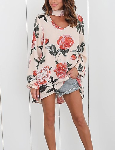 billige T-skjorter til damer-V-hals T-skjorte Dame - Blomstret Svart