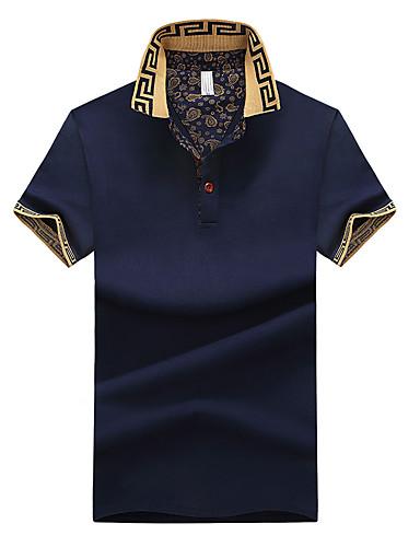 cheap Men's Plus Sizes-Men's Plus Size Solid Colored Print Polo - Cotton Shirt Collar White / Black / Blue / Gray