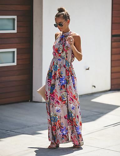 levne Maxi šaty-Dámské Swing Šaty Maxi Lodičkový
