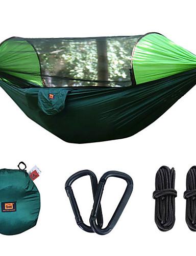 preiswerte Angebote der Woche-Camping-Hängematte mit Pop-Up-Moskitonetz Außen Tragbar Sonnenschutz Atmungsaktiv Fallschirm aus Nylon mit Karabinern und Baumgurten für 2 Personen Angeln Wandern Camping Patchwork - Orange