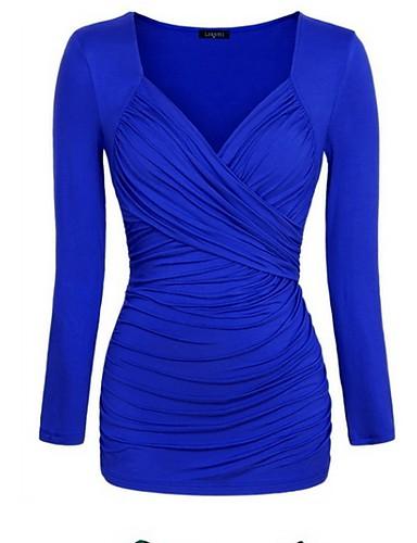 billige Dametopper-Tynn V-hals Store størrelser T-skjorte Dame - Ensfarget Svart