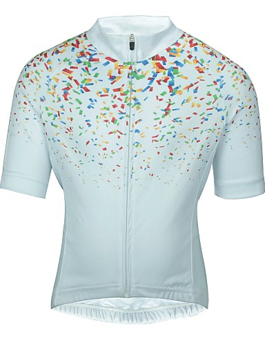 cheap Cycling-ILPALADINO Boys' Girls' Short Sleeve Cycling Jersey - Kid's Summer White Floral Botanical Bike Jersey Top Mountain Bike MTB Road Bike Cycling Quick Dry Breathable Back Pocket Sports Clothing Apparel