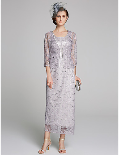voordelige Wrap Dresses-Strak / kolom Scoop Neck Over de knie Kant Bruidsmoederjurken met Kant door LAN TING BRIDE®