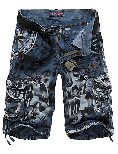 cheap Men's Bottoms-Men's Basic Military Daily Shorts Pants - Camo / Camouflage Wine Blue Yellow 29 / 30 / 31
