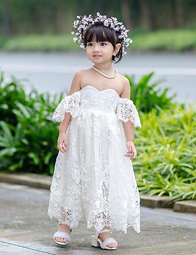 preiswerte Baby & niños-Kinder Baby Mädchen Grundlegend Süß Solide Blumen Spitze Gitter Kurzarm Knielang Kleid Weiß / Baumwolle