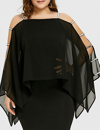 levne Šaty velkých velikostí-Dámské Větší velikosti Základní Pouzdro Šaty - Jednobarevné, Vystřižený Nad kolena Hranatý