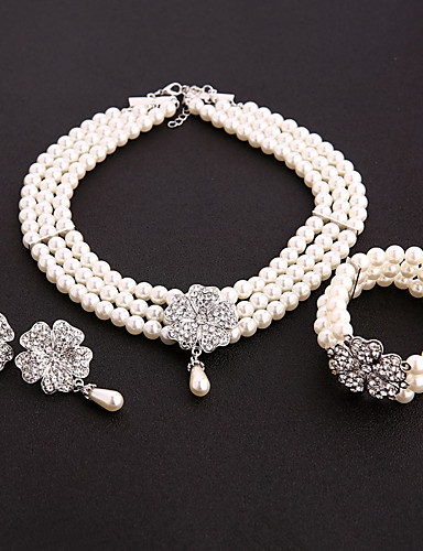 cheap Costumes Jewelry-The Great Gatsby 1920s The Great Gatsby Costume Accessory Sets Masquerade Women's Costume Bead Bracelet Earrings Pearl Necklace White Vintage Cosplay Party Halloween / 1 Necklace / 1 Pair of Earrings