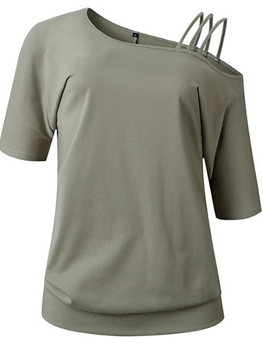billige Dametopper-Bomull Løse skuldre T-skjorte Dame - Ensfarget Svart