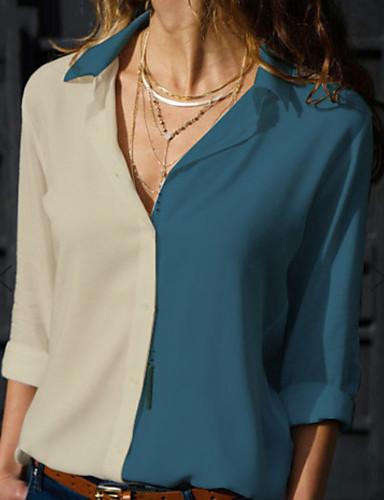 billige Dametopper-Skjortekrage Store størrelser Skjorte Dame - Fargeblokk Gul