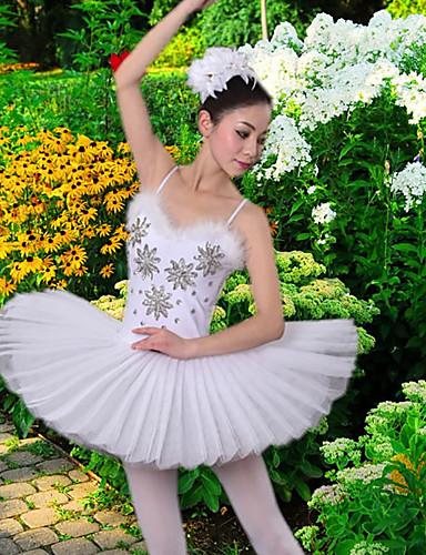 levne Shall We®-Balet Šaty / tutu a sukně Dámské Trénink / Výkon Polyester / Síťka Peří / kožešiny / Křišťály / Bižuterie Bez rukávů Šaty