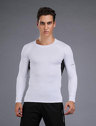 povoljno Odjeća za fitness, trčanje i jogu-Muškarci Kompresijska košulja Dugih rukava Kompresija Biciklistička majica Kompresivna odjeća Prozračnost Ugrijati Quick dry Udobnost Crn Plava Siva Vježbanje na otvorenom Outdoor Mikroelastično