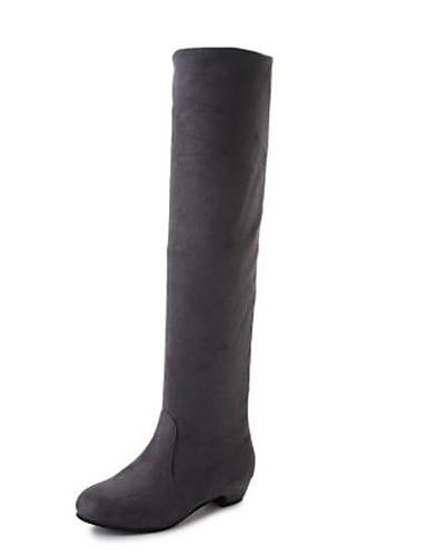 billige Damestøvler-Dame Støvler Knehøye Støvler Tykk hæl Nappa Lær Knehøye støvler Trendy støvler / Slouch Støvler Vinter Svart / Brun / Rød / EU39