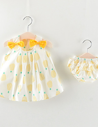 preiswerte Baby & niños-Baby Mädchen Grundlegend Frucht Ärmellos Standard Baumwolle Kleidungs Set Rosa