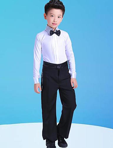 cheap Latin Dancewear-Latin Dance Kids' Dancewear Top Bow(s) Split Joint Boys' Training Performance Long Sleeve Polyester