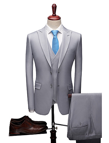 cheap Suits-Blue / Light Gray / Dark-Gray Solid Colored Standard Fit Polyester Suit - Peak Single Breasted Two-buttons / Suits