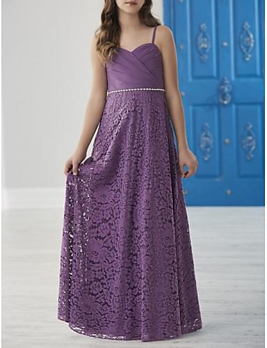 d4f86d7e9 A-Line Spaghetti Strap Floor Length Chiffon / Lace Junior Bridesmaid Dress  with Sash / Ribbon / Ruching by LAN TING BRIDE® 7220458 2019 – $89.99
